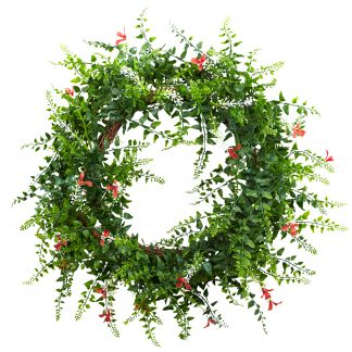 Floral & Fern Double Ring Wreath w/Twig Base