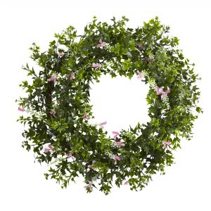 Mini Ivy & Floral Double Ring Wreath w/Twig Base