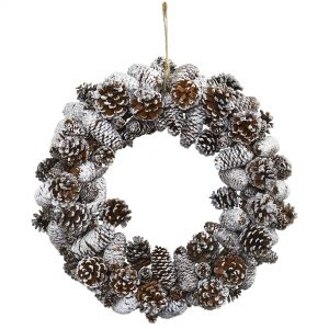 Snowy Pine Cone Wreath