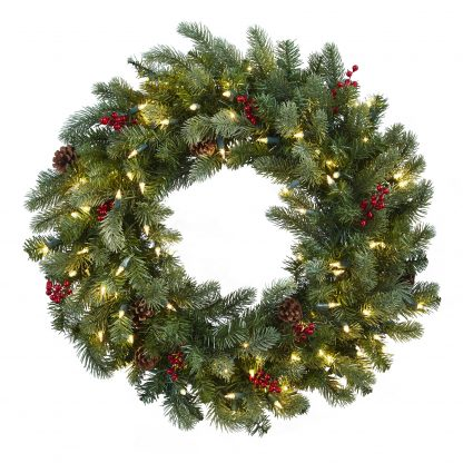Lighted Pine Wreath w/Berries & Pine Cones