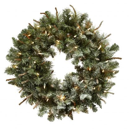Lighted Frosted Pine Wreath