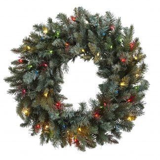 Pine Wreath w/Colored Lights
