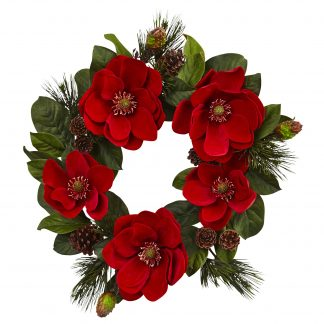 Red Magnolia & Pine Wreath