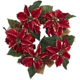 Poinsettia, Pine Cone & Burlap Wreath
