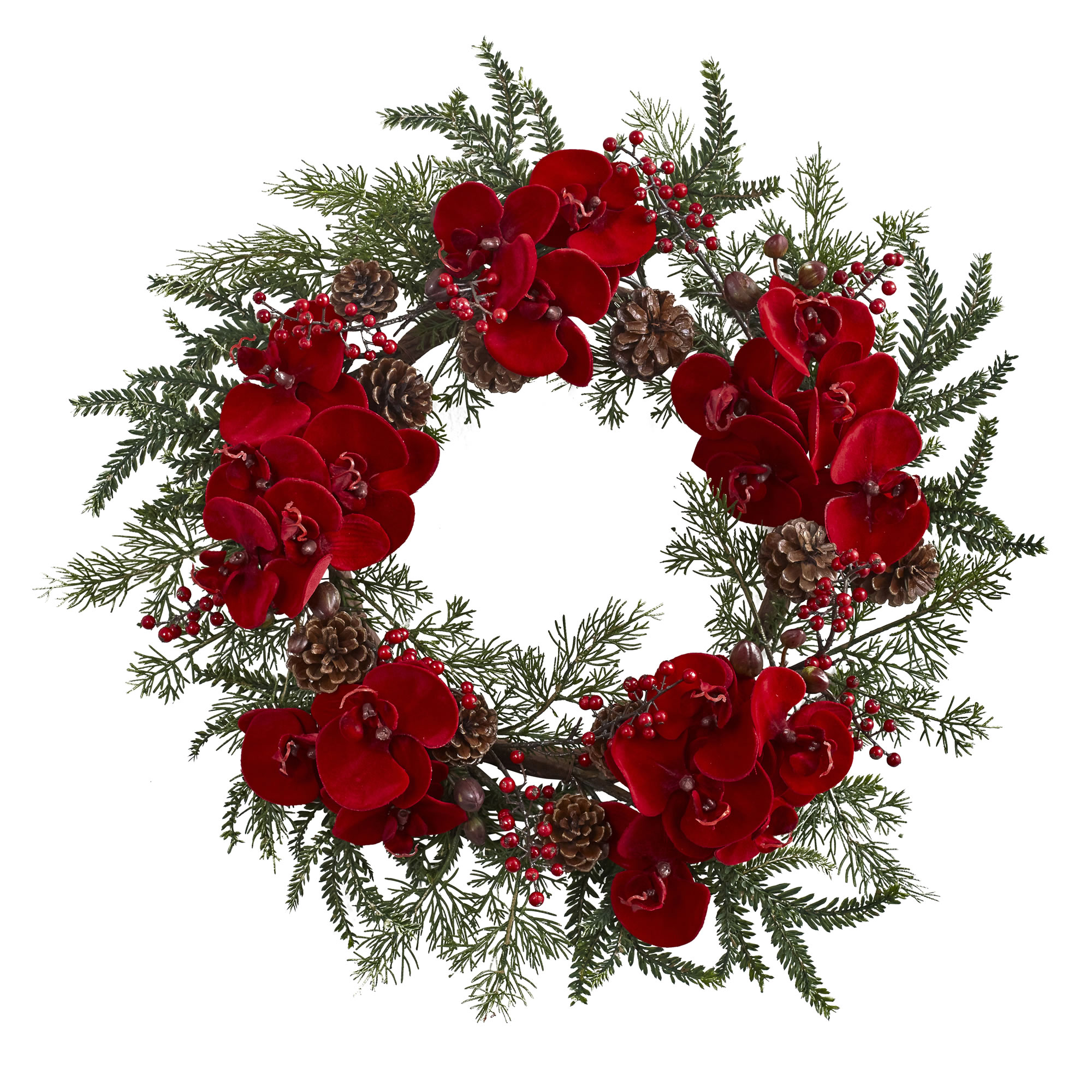 Orchid, Berry & Pine Holiday Wreath