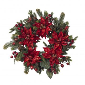 Poinsettia & Berry Wreath