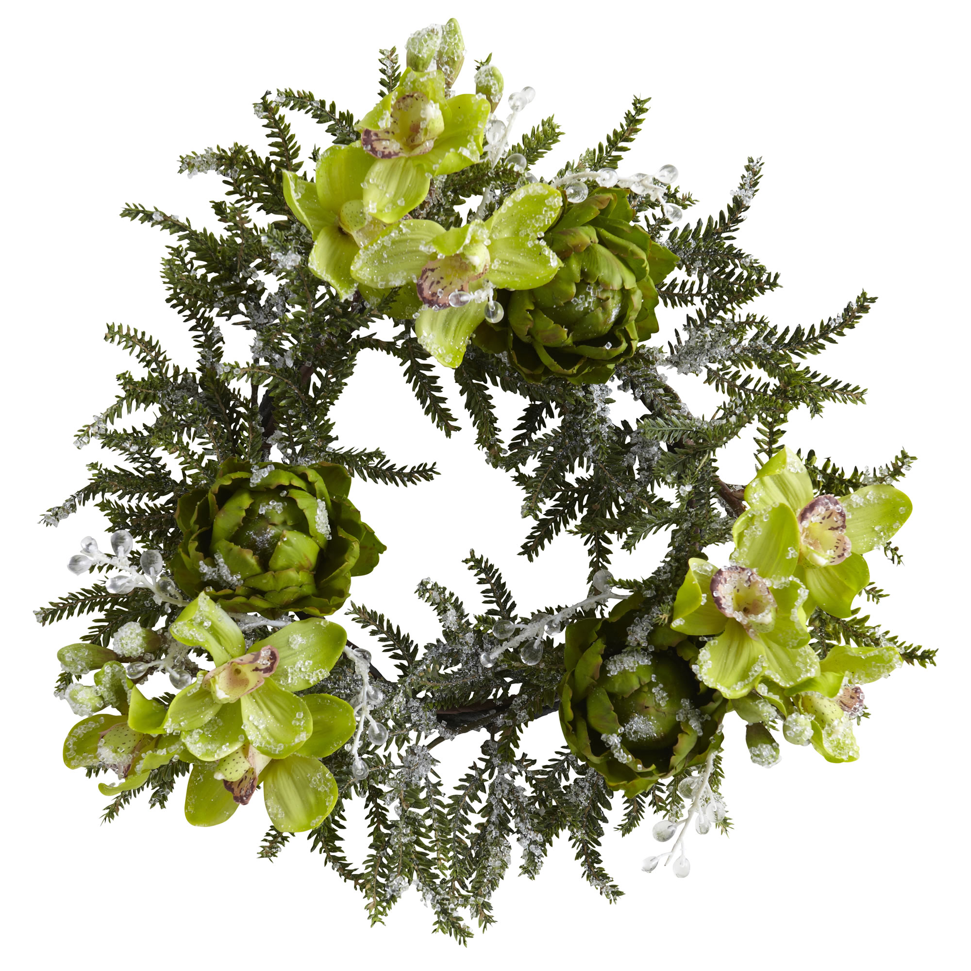 Iced Cymbidium & Artichoke Wreath